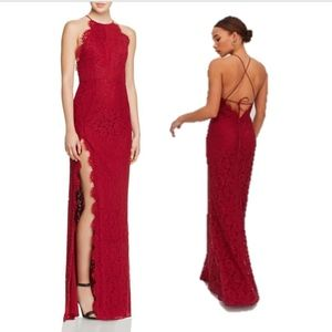 Fame and Partners Red Lace Gown